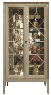 Casa Padrino Luxus Vitrine Grau 110 x 42 x H. 220 cm - Edler Massivholz Vitrinenschrank mit 2 Glastüren - Luxus Wohnzimmer Möbel