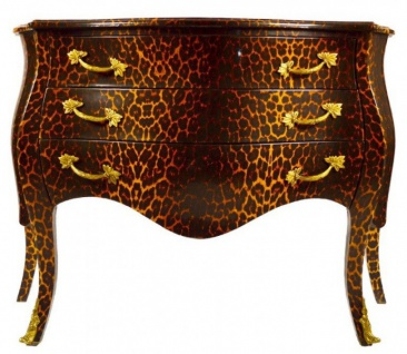 Casa Padrino Barock Kommode in Leopard mit 3 Schubladen