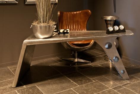 Casa Padrino Luxus Designer Schreibtisch Aviator Desk Aluminium Flugzeug Flügel Art Deco Vintage Plane