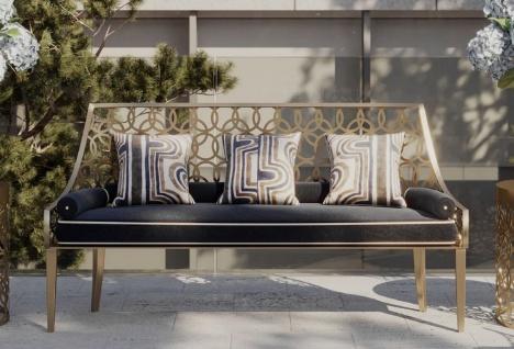 Casa Padrino Luxus Sitzbank Grau / Weiß / Gold 150 x 50 x H. 89 cm - Handgefertigte Bank mit Kissen - Garten & Terrassen Bank - Hotel Möbel - Luxus Qualität