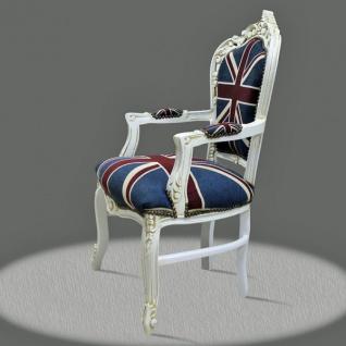 Casa Padrino Barock Esszimmer mit Armlehnen Union Jack / Antikstil Weiß - Antik Stil - Vorschau 2