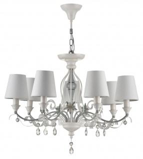 Casa Padrino Jugendstil Kristall Kronleuchter 7-Flammig Weiß / Grau Ø 70 x H. 50 cm - Barock & Jugendstil Lüster