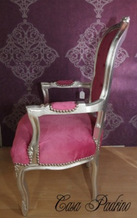 Casa Padrino Barock Salon Stuhl Rosa/Silber - Barock Antik Stil Möbel - Vorschau 2