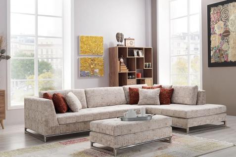 Casa Padrino Designer Wohnzimmer Set - Ecksofa mit Sitzhocker - Creme / Chrom Hotel Möbel