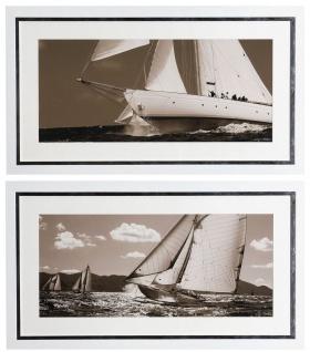 Casa Padrino Luxus Bilder Set Yachten Segelschiffe 110 x H. 60 cm - Kunstdrucke - Wandbilder - Luxus Wanddeko