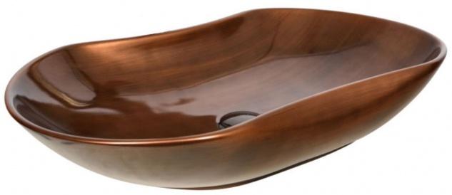 Casa Padrino Luxus Waschbecken Kupferfarben 67 x 41, 5 x H. 12, 5 cm - Edles Keramik Waschbecken - Luxus Badezimmer Accessoires