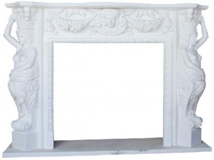 Casa Padrino Luxus Barock Kaminumrandung Weiß 180 x 40 x H. 140 cm - Prunkvolle Kaminumrandung aus hochwertigem Marmor - Deko Accessoires im Barockstil