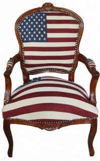 Casa Padrino Barock Salon Stuhl Mod1 USA Design / Mahagoni Braun - USA Stil