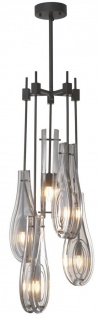 Casa Padrino Luxus Kronleuchter Bronzefarben / Grau Ø 37 x H. 95, 5 cm - Moderner Metall Kronleuchter mit Glas Lampenschirmen - Luxus Qualität