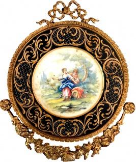 Casa Padrino Barock Keramik Wandbild mit verziertem Rahmen 38 x 32 cm - Barock Wanddeko Wandteller Antik Stil