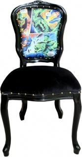 Casa Padrino Barock Luxus Esszimmer Stuhl Comic / Schwarz - Designer Stuhl - Design Möbel