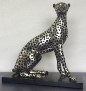 Casa Padrino Luxus Bronzefigur Silber / Schwarz 37 x 15 x H. 40 cm - Sitzender Gepard mit Marmorsockel - Vorschau 2