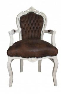 Casa Padrino Barock Esszimmer Stuhl mit Armlehnen Braun / Creme Lederoptik Antik Look
