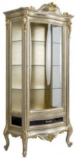 Casa Padrino Luxus Barock Vitrine Silber / Gold - Handgefertigter Massivholz Vitrinenschrank - Barock Wohnzimmer Möbel