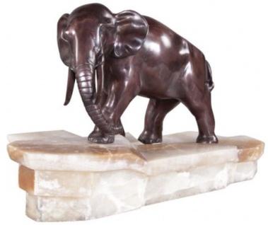 Casa Padrino Luxus Bronzefigur Elefant auf Marmorsockel Bronze / Weiß 44 x 19 x H. 30 cm - Luxus Qualität - Vorschau 2