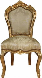 Casa Padrino Barock Esszimmer Stuhl Creme Muster / Gold - Barock Möbel Antik Stil