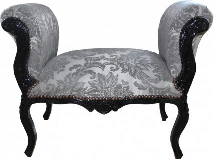 Casa Padrino Barock Schemel Hocker Grau Muster / Schwarz - Sitzbank - Limited Edition