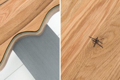 Casa Padrino Designer Massivholz Wildeiche Couchtisch mit Sicherheitsglas Natur 115cm x H. 45cm - Salon Wohnzimmer Tisch - Vorschau 5