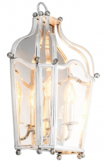 Casa Padrino Messing Wandleuchte Silber 31, 5 x 15 x H. 47 cm - Luxus Wohnzimmer Wandlampe