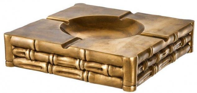 Casa Padrino Luxus Aschenbecher Vintage Messingfarben 22, 5 x 22, 5 x H. 5, 5 cm - Quadratischer Messing Aschenbecher in Bambusoptik - Luxus Deko Accessoires