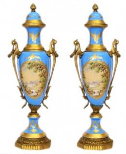 Casa Padrino Barock Porzellan Pokal Set Hellblau / Gold B20 H58 cm (2 Stück) - Grand Decor - Hotel Dekoration