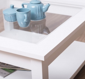 Casa Padrino Landhausstil Couchtisch mit Glasplatte Weiß 90 x 90 x H. 45 cm - Massivholz Wohnzimmertisch - Wohnzimmermöbel im Landhausstil - Vorschau 2
