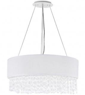 Casa Padrino Kristall Hängeleuchte Silber / Weiß Ø 45 x H. 21 cm - Außergewöhnliche runde Leuchte mit Metallrahmen und Stoffbezug