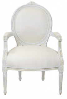 Casa Padrino Luxus Barock Medaillon Salon Stuhl Antik Weiß - Möbel Antik Stil