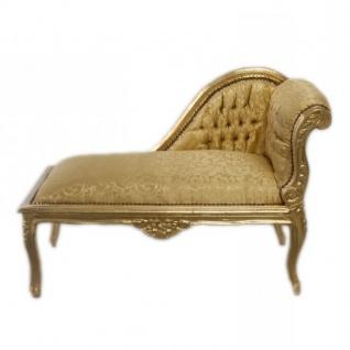 Casa Padrino Barock Kinder Chaiselongue Gold Muster / Gold Mod2R - Tron Barock Möbel