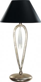 Casa Padrino Luxus Barock Tischleuchte Schwarz / Silber mit Glaskristall - versilberte Säulen Lampe - Handgefertigt in Italien