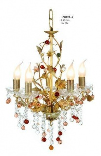 Pendelleuchte mit farbigen Glasperlen, Durchmesser 43 cm, 5-flammig, Leuchte Lampe LPH128-5