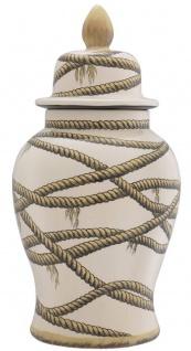 Casa Padrino Luxus Porzellan Vase Beige Ø 31 x H. 67 cm - Runde Blumenvase mit Deckel - Deko Accessoires - Vorschau 4