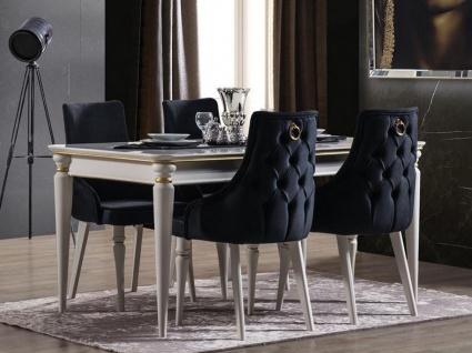 Casa Padrino Luxus Art Deco Esszimmer Set Dunkelblau / Weiß / Gold - 1 ausziehbarer Esszimmertisch & 6 Esszimmerstühle - Art Deco Esszimmer Möbel - Luxus Qualität