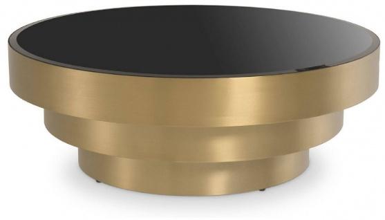 Casa Padrino Luxus Couchtisch Messingfarben / Schwarz Ø 100 x H. 36 cm - Moderner runder Edelstahl Wohnzimmertisch mit Glasplatte - Wohnzimmer Möbel - Luxus Möbel