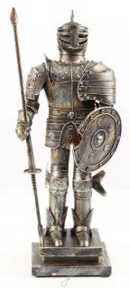 Casa Padrino Mittelalter Deko Ritterrüstung Antik Silber 18, 8 x 12, 1 x H. 46, 9 cm - Kleine Zinnfigur auf Sockel