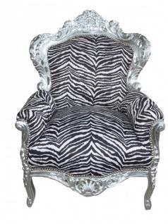 Casa Padrino Barock Sessel King Zebra / Silber - Antik Stil Möbel