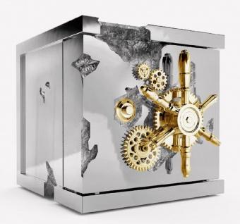 CPBlack Luxus Schmucksafe by Casa Padrino Silber / Gold - Moderner Safe in Würfelform - Moderner Hochwertiger Schmuck Tresor