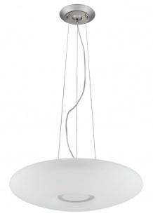 Casa Padrino Luxus Hängeleuchte Weiß / Silber Ø 40 x H. 10 cm - Wohnzimmer Hängelampe