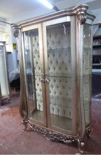 Casa Padrino Luxus Barock Vitrine Silber - Handgefertigter Massivholz Vitrinenschrank mit 2 Glastüren - Prunkvolle Barock Möbel
