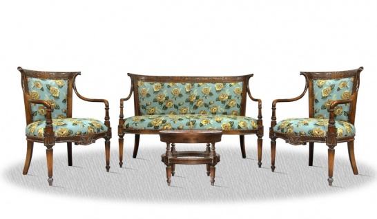 Casa Padrino Salon Set antik braun blau mit Blumenmuster - Luxus Kollektion