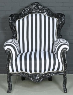 Casa Padrino Barock Sessel Schwarz / Weiß 85 x 85 x H. 120 cm - Barockstil Wohnzimmer Sessel mit Streifen