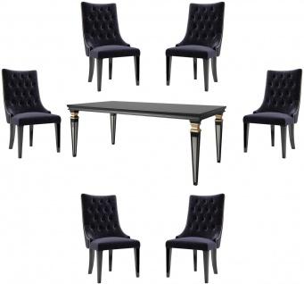 Casa Padrino Luxus Barock Esszimmer Set Lila / Schwarz / Gold - 1 Esszimmertisch & 6 Esszimmerstühle - Esszimmermöbel im Barockstil - Luxus Qualität - Edel & Prunkvoll