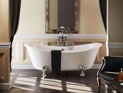 Casa Padrino Jugendstil Badewanne freistehend 1640mm BBat Weiß - Freistehende Retro Antik Badewanne