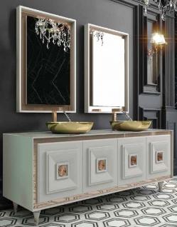 Casa Padrino Luxus Badezimmer Set Weiß / Bronze / Gold - 1 Waschtisch mit 4 Türen und 2 Waschbecken und 2 Wandspiegel - Luxus Badezimmermöbel