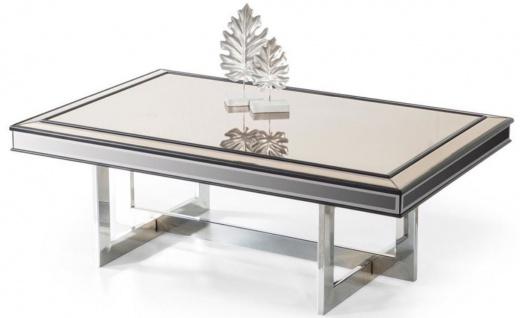 Casa Padrino Luxus Couchtisch Silber 120 x 80 x H. 43 cm - Wohnzimmertisch mit Glasplatte und Spiegelglas - Luxus Wohnzimmer Möbel