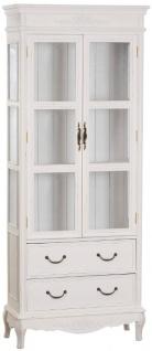 Casa Padrino Landhausstil Vitrinenschrank Antik Weiß 70 x 31 x H. 177 cm - Handgefertigte Shabby Chic Vitrine mit 2 Glastüren und 2 Schubladen