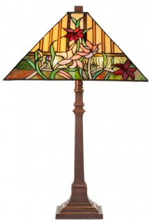 Casa Padrino Luxus Tiffany Tischleuchte mit Blumendesign Braun / Mehrfarbig 40 x 40 x H. 62 cm - Tiffany Lampe mit handgefertigtem Glas Lampenschirm