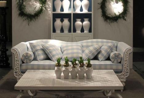 Casa Padrino Luxus Barock Sofa Weiß / Hellblau 220 x 100 x H. 80 cm - Handgeschmiedetes Schmiedeeisen Sofa mit Kissen - Wohnzimmer Sofa - Garten Sofa - Terrassen Sofa - Barock Möbel