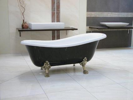 Freistehende Luxus Badewanne Jugendstil Roma Schwarz/Weiß/Altgold 1470mm - Barock Antik Badezimmer - Vorschau 2