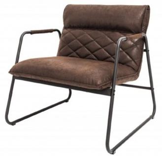 Casa Padrino Retro Lounge Sessel Vintage Braun / Schwarz 71 x 72 x H. 79 cm - Kunstleder Sessel mit Metallgestell - Wohnzimmer Möbel